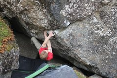 Rock Climbing Photo: Jared Lavacque on Bear Rape V5/6