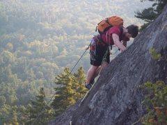 Rock Climbing Photo: Ben Botelho traversing near the top of P3 of Catha...