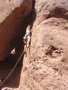 Rock Climbing Photo: Logan getting started.