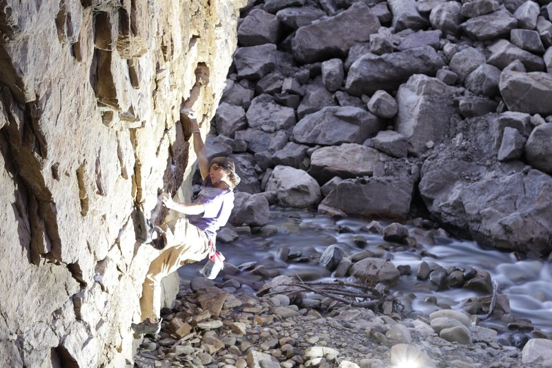 Rock Climbing Photo: Peicing together my first First acent, and cleanin...