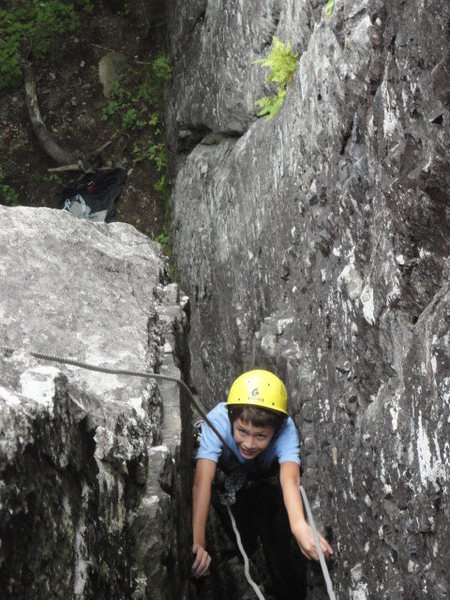 Rock Climbing Photo: Looking down from the belay of the first pitch.