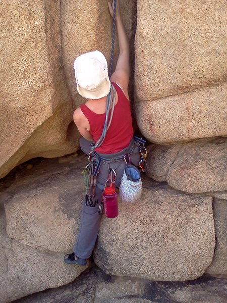 Crack climb (5.8) in Joshua Tree.  Can't remember the name of the route, but it had a good crux :)