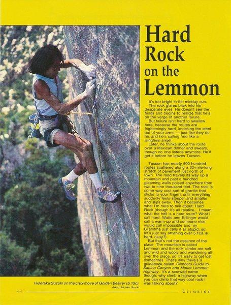 Rock Climbing Photo: Hidetaka Suzuki on the crux move of Golden Beaver ...