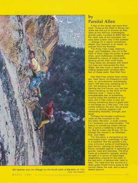Bill Hatcher and Jim Waugh on the 4th pitch (5.11b) of Ma'adim, Mt. Lemmon. Photo by Peter Noebels.
