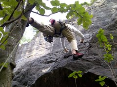 Rock Climbing Photo: Steve making the bold step out of the tree on Petr...