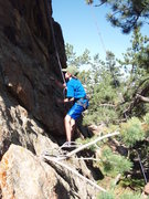 Rock Climbing Photo: Evan at perhaps the crux for the height challenged...