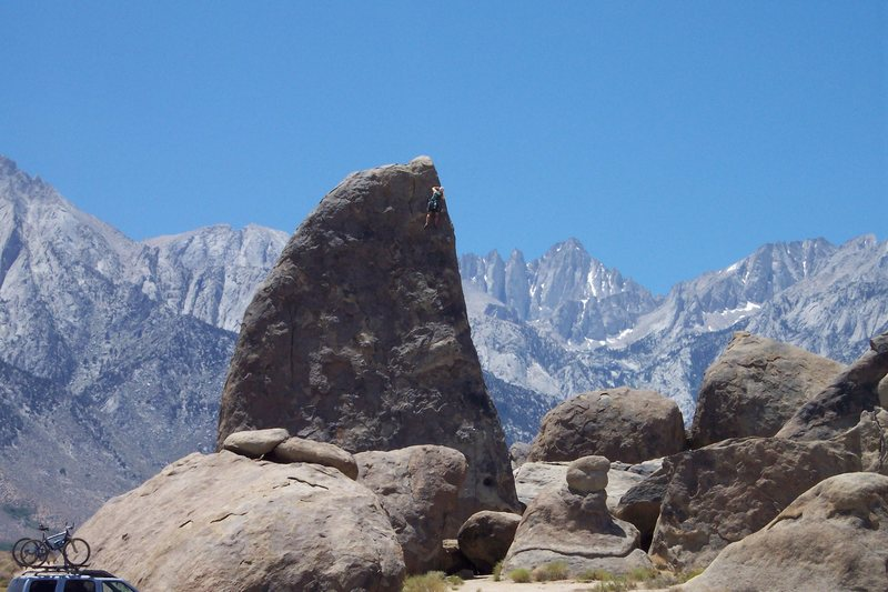 Jeff on Shark's Fin Arete (5.7) in Alabama Hills