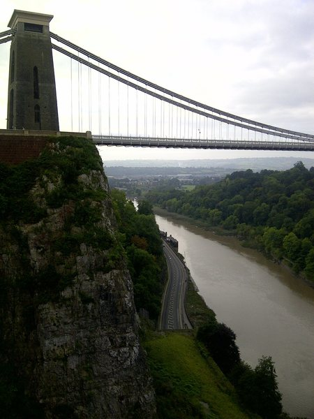 Suspension Bridge Buttress and the Brunel suspension bridge, as seen from Giant's Cave Butress