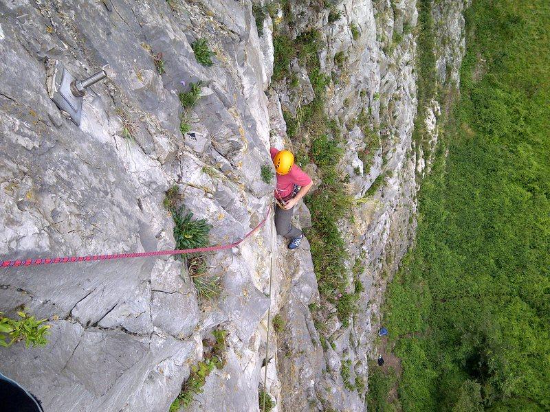 Rock Climbing Photo: Graeme part way along the P3 traverse