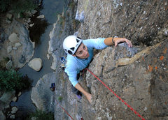 Rock Climbing Photo: Marisa Fienup works through the steep final sectio...