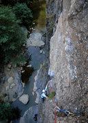 Rock Climbing Photo: Marisa Fienup passes the fourth bolt on Stuart's R...