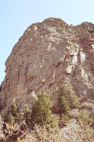 West face of The Pulpit as viewed from the southwest from La Luz Trail.  There is a large section of The Pulpit to the right of this photo.<br> <br>