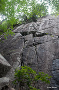 Rock Climbing Photo: These two cracks are Night Mare (left) and Octo-Pu...