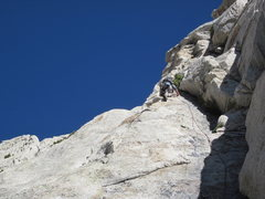 Rock Climbing Photo: Pitch 11 (topo) - about to clip the bolt and do th...