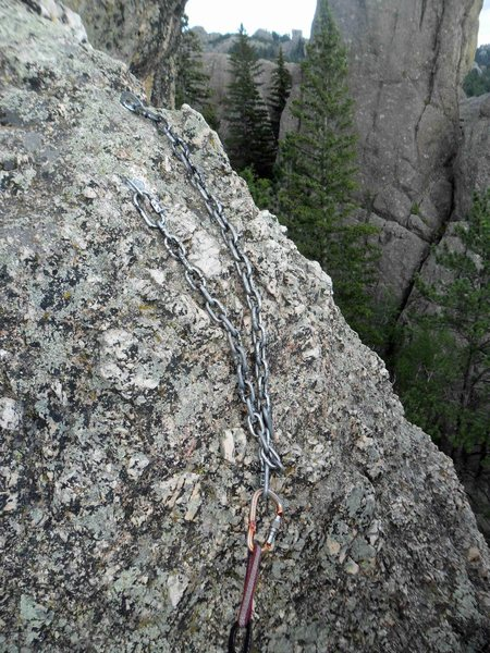 Anchors for Katey's Route.  <br> Rapping back down Katey's Route from here would take a 70M rope (or make sure to tie knots in the end of a 60M rope).  However, you can probably rap down the right side from this anchor and it would be a shorter rappel since you avoid the long run out &quot;hump&quot; at the top of Katey's Route
