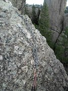 Rock Climbing Photo: Anchors for Katey's Route.   Rapping back down Kat...