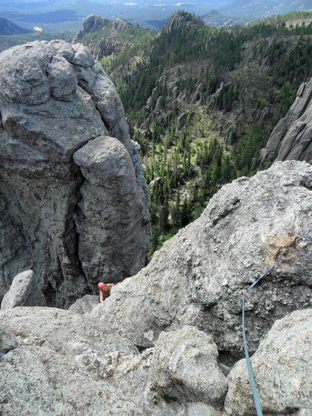 Rock Climbing Photo: Brenda on the short steep face of the last pitch w...