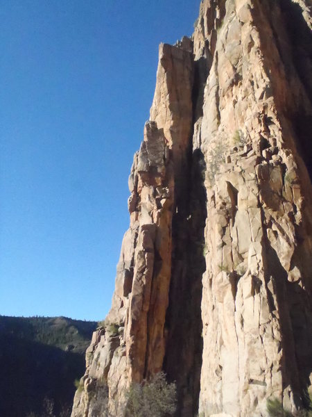 The sunniest arete at the top of the Pleasure Pillar. Great exposure and movement.
