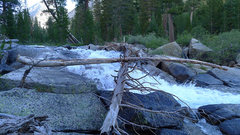 Rock Climbing Photo: first river crossing on pink slimed logs (not reco...