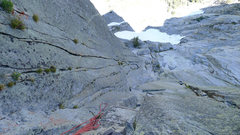 Rock Climbing Photo: looking down P4 with other potential crack options...