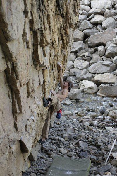 Rock Climbing Photo: The grab for the big, ledge, rail thing.