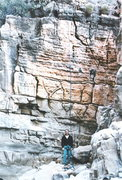 John Rosholt standing in front of Talisman Wall (secret slot canyon in Arizona - can't remember the name)