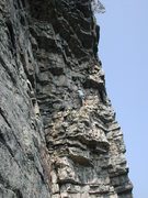 Rock Climbing Photo: Unknown climber on Hans' Puss Sept 3 2011. Taken f...