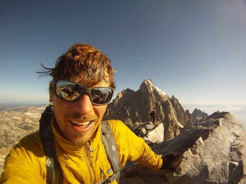Matt Schroer, Ryan Choi, and Kent Christensen on the summit of Middle Teton