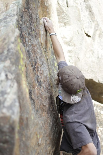 Rock Climbing Photo: Going for the high ledge. Hard for short people fo...