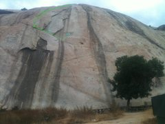 Rock Climbing Photo: Upper Crack 5.4 with some varations as dashed line...