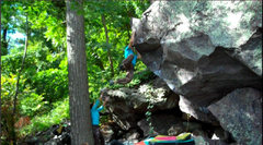 Rock Climbing Photo: Snagging the dyno on the FA.