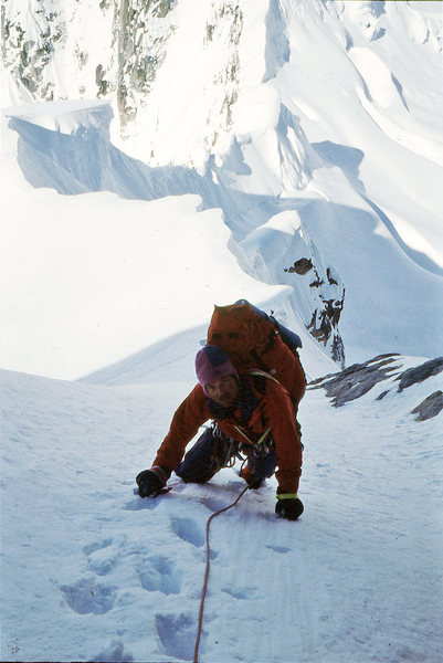 Rock Climbing Photo: Jeff Burton upper part of The Harvard route on Mt ...
