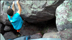 Rock Climbing Photo: About to pull the foot off the block, the crux mov...