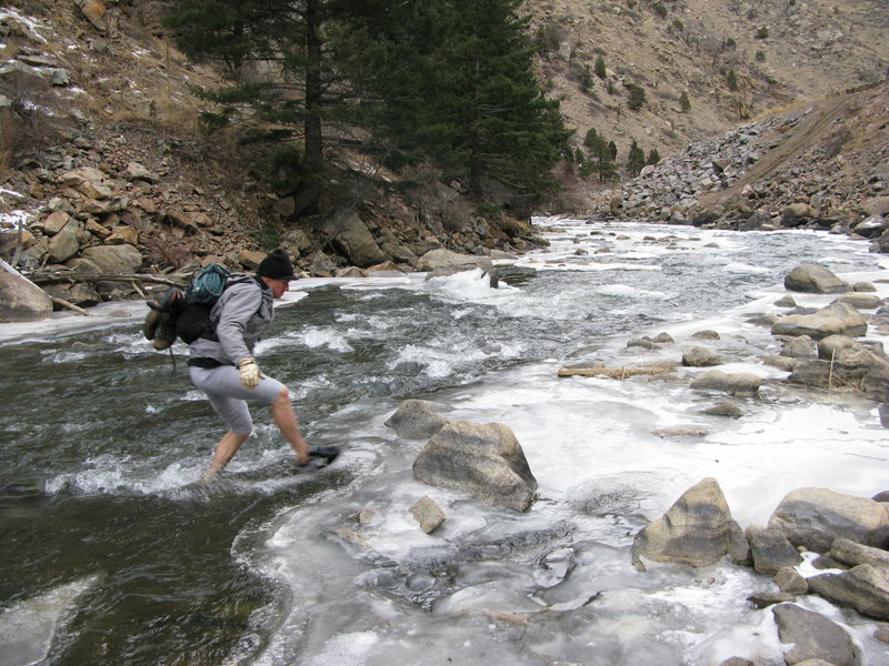 """Jason asked my if I'd like to go climb with him on a new route. """"It's a quick approach if you just walk across the river."""" He owns some fancy waders. I don't."""