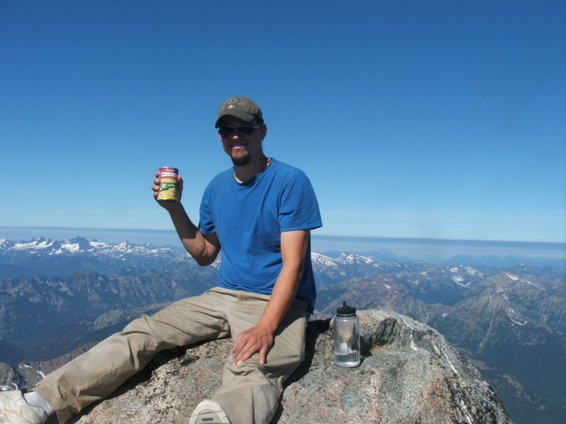On the Summit of Mt. Stuart looking for a Campbell's sponsorship!
