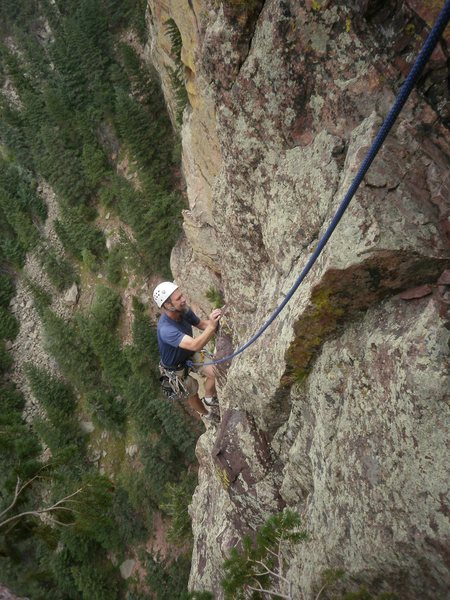 Rock Climbing Photo: Wayne tip-toeing up the arete.