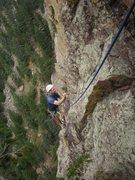 Rock Climbing Photo: Wayne tip-toeing up the arete.