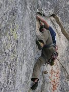 Rock Climbing Photo: Scott at the off width prior to the traverse, phot...
