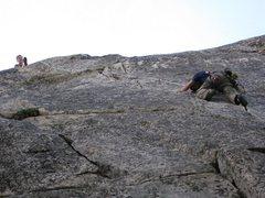 Rock Climbing Photo: Chris belays Scott up the splitter, photo by Manil...
