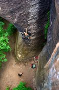 Rock Climbing Photo: Moving through the crux. Great stone, cool movemen...