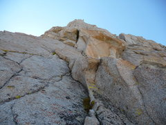 Rock Climbing Photo: Looking up at pitch 5, the chimney pitch.  This is...