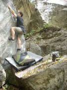 Rock Climbing Photo: Morning Star V7 at Rumbling Bald