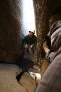 Rock Climbing Photo: Hoeffer belaying inside the womb on the first asce...