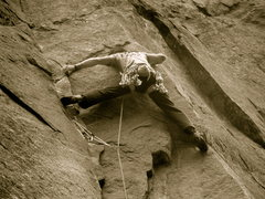 Rock Climbing Photo: Stretching into the crux.