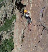 Rock Climbing Photo: Nat finishing up the airy traverse on pitch 4.