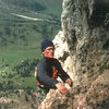Jim Ghiselli on the Vinatzer on the Third Sella Tower, photo by James Crump