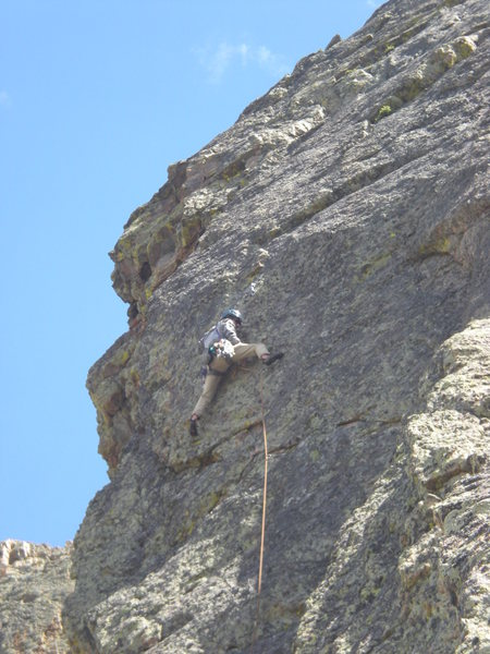 Rock Climbing Photo: Mark trying to get comfortable before clipping the...
