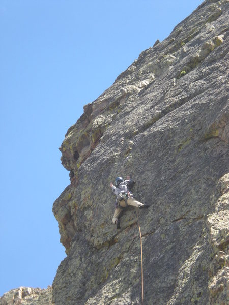 Rock Climbing Photo: Mark reaches for holds as the rock steepens near t...