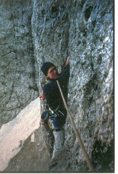 Jim Ghiselli following the second pitch of the Messner, photo James Crump, 1984