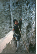 Rock Climbing Photo: Jim Ghiselli following the second pitch of the Mes...